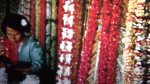 (8mm Vintage) 1955 Hawaiian Lei Flower Maker stock footage