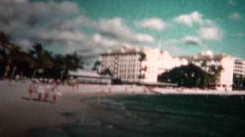 (8mm Vintage) 1955 Hawaii Hotels Waikiki Beach stock footage