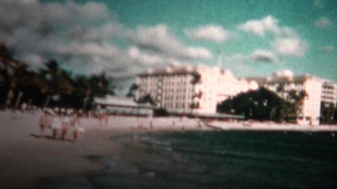 (8mm Vintage) 1955 Hawaii Hotels Waikiki Beach Footage