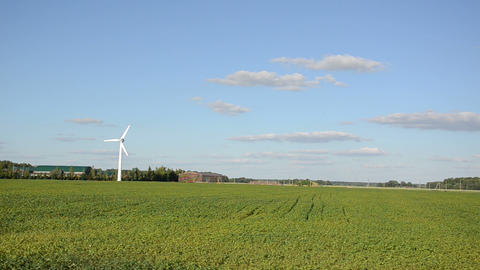 White windmill for renewable electricity energy production Footage