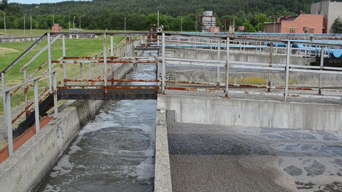 oxygenation basin pool wastewater of old sewage cleanment plant Live Action
