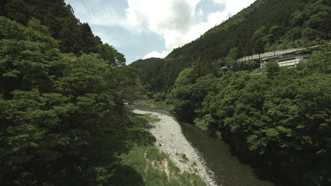 River from a bridge wide angle in Okutama Footage