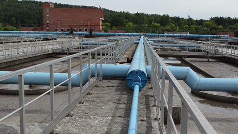 waterworks pools and big tubes pipes and bubbling dirty fluid Footage