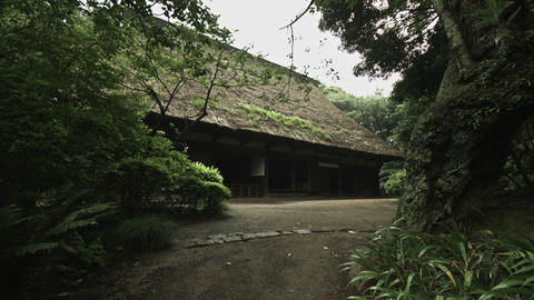 House of gassho-zukuri in Sankeien wide angle Footage
