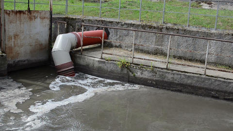 All city sewage waste water and garbage flow pipe tube Footage