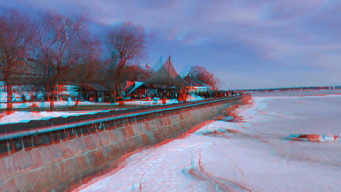 Stereoscopic 3D Helsinki 8 - cafeteria on seashore Stock Video Footage