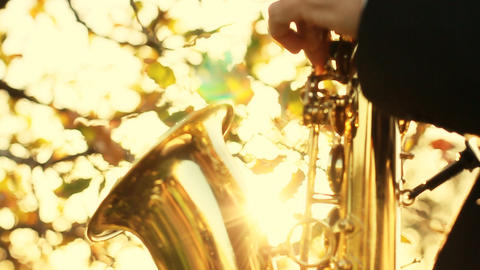 man play on golden saxophone in nature instrumental blow... Stock Video Footage