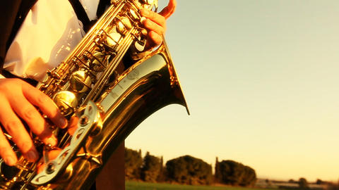 man play on golden saxophone in nature instrumental blow…, Live Action