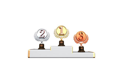 Podium Prize Trophy Ac2w HD Stock Video Footage