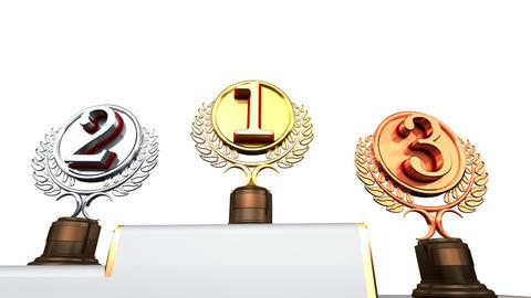 Podium Prize Trophy Ec2w HD Stock Video Footage