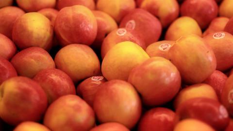 Vegetables fruits salad apple banana orange healthy... Stock Video Footage