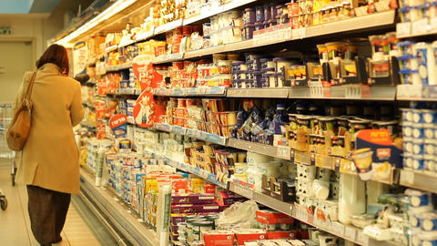 Supermarket Checkout counter buyer buy aisle shopping... Stock Video Footage