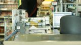 Supermarket Checkout counter buyer buy aisle shopping merchandise cart cash Footage