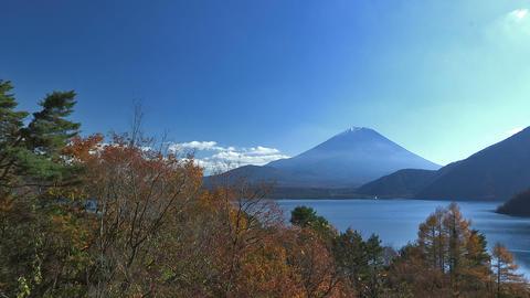 Autumn Landscape in Motosu Lake and Mt.Fuji,in... Stock Video Footage