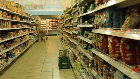 Supermarket Checkout counter buyer buy aisle shopp Stock Video Footage