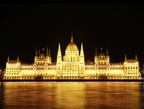 4K Hungarian Parliament Building and Danube at Night Stock Video Footage