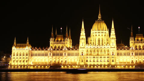 Budapest Hungarian Parliament Night Timelapse 02 pan Stock Video Footage