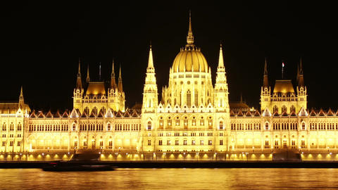 Budapest Hungarian Parliament Night Timelapse 02 pan Footage