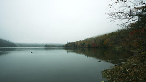 Misty lake Yunoko wide angle Footage