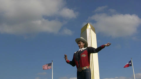Big Tex with American and Texas Flags Footage