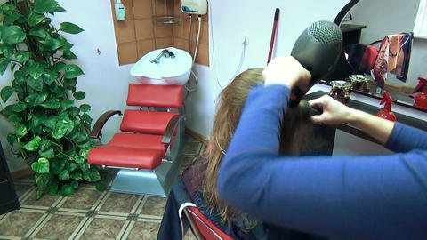 Professional barber dry client girl hair haircut in salon Footage