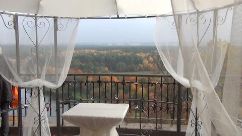 wedding ceremony place furniture wrapped white taffeta Stock Video Footage