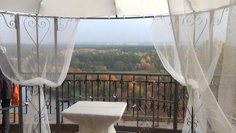 wedding ceremony place furniture wrapped white taffeta Footage