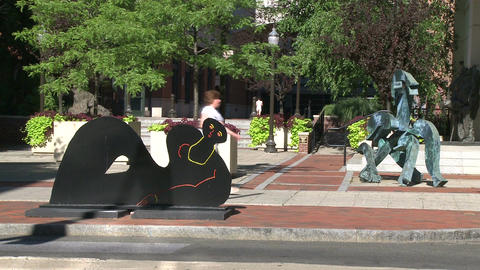 Woman walking by sculptures on pathway Footage