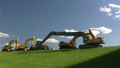 Construction Equipment At Rest Live Action