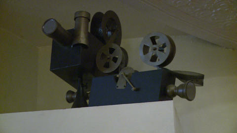 Reel and spot lights inside local theater Footage