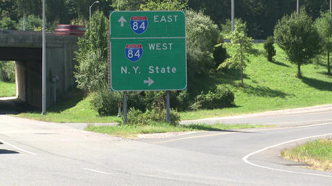 Interstate sign by the highway in New York (2 of 2) Footage