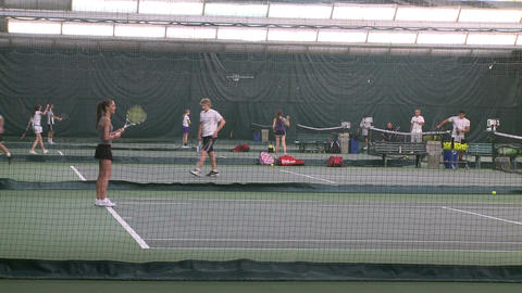Boys and girls practicing tennis (1 of 3) Footage