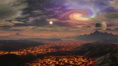 Lava landscape on the planet aliens Animation