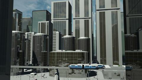 Futuristic City Flight Ascending stock footage