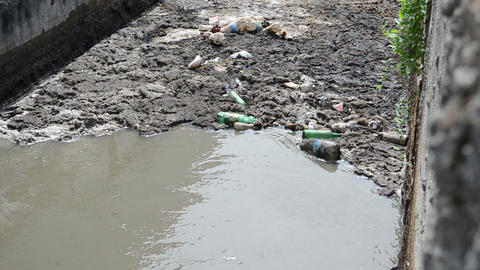 Urban sewage waste water and garbage flow course bar screens Footage