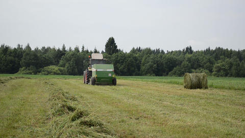 tractor collect hay in agriculture field Footage