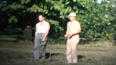 1958 - Horseshoe Game Setup Tournament Sport Play Footage