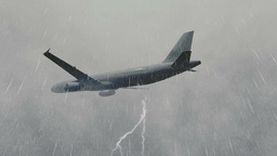 Airliner Flying Through A Storm stock footage