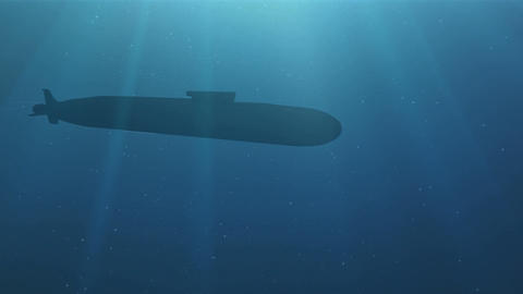 Silhouette of the submarine floats in a deep water Animation