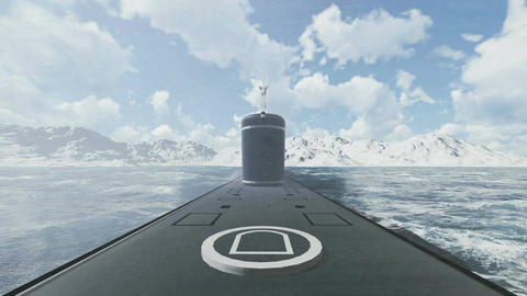 Surfaced Submarine Borei Front View stock footage