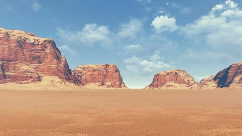 Red rocks among desert land panoramic view Footage