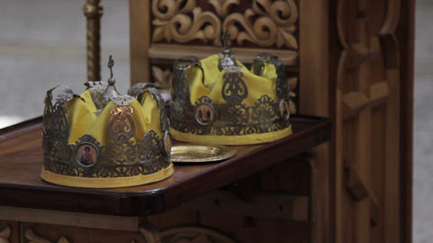 Two Orthodox Wedding Ceremonial Crowns Ready for Ceremony Live Action