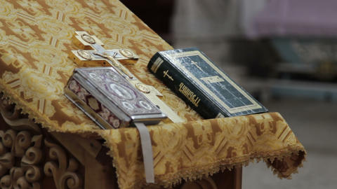 A Bible Lying On The Pulpit In A Church stock footage