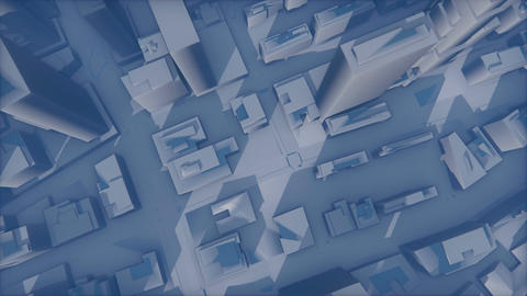 Abstract 3D city fade in haze Animation