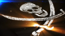 Golden Pirate Flag stock footage