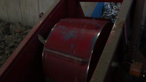 A Large Drum Crushing Cans at a Recycling Center (1 of 2) Footage