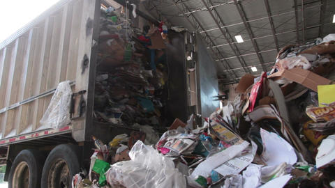 A Semi Truck Dropping Trash at the Recycling Center (1 of 7) Footage