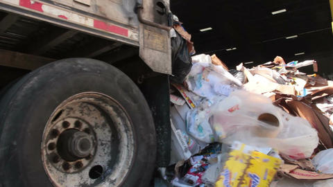 A Semi Truck Dropping Trash at the Recycling Center (4 of 7) Footage