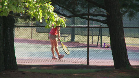 Girl playing tennis Footage