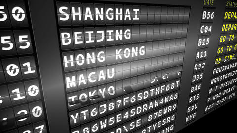 Departures board for asian cities Animation